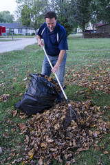 Homeowner Raking Leaves Into A Pile
