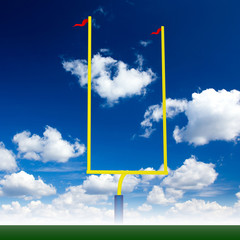 american football post with sky and turf