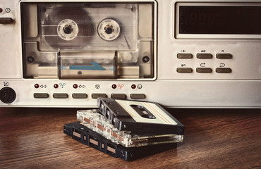 old retro cassette recorder