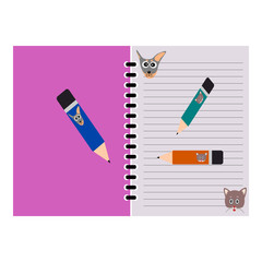 Dog and Cat cartoon picture on notebook, Pencil on notebook, notebook template design vector