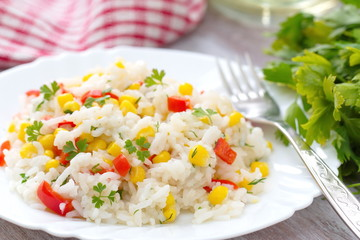 Risotto with vegetables and corn