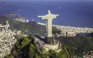 Rio de Janeiro, Brazil : Aerial view of Christ and Copacabana Beach