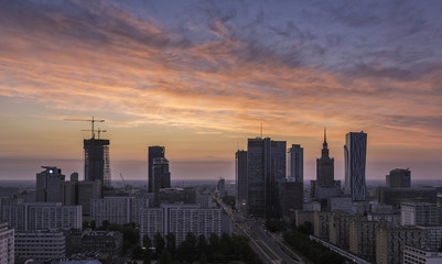 Fototapeta Warsaw Downtown Sunrise aerial view