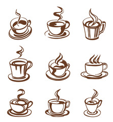 set of coffee cup in line-art style. vector