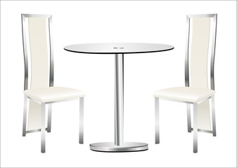 modern chairs and table on the white background