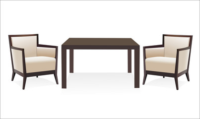 Modern table with two chairs on white background.