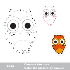 Game for numbers. One cartoon owl.