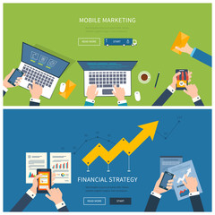 Flat design illustration concepts for business analysis and