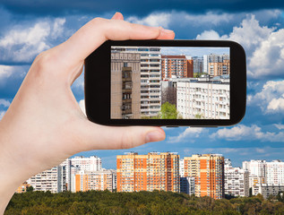 picture of apartment houses on smartphone