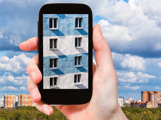 wall of urban house on smartphone