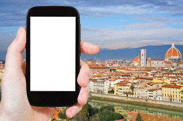 phone with cut out screen and Florence skyline