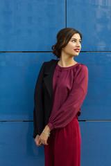 fashion stylish business woman on the street