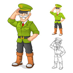 High Quality General Army Cartoon Character with Salute Hand Pose Include Flat Design and Outlined Version Vector Illustration