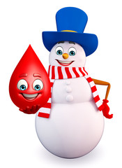 Cartoon Snowman with blood drop