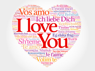 I Love You heart concept in all languages of the world, vector background