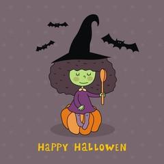 Funny cartoon Happy Halloween card