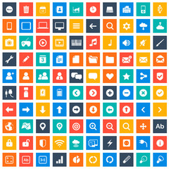 Multimedia icons set for web and mobile in squares