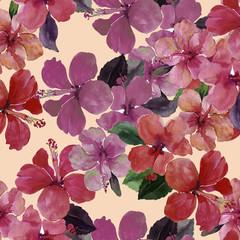 Flowers summer hibiscus bush pattern