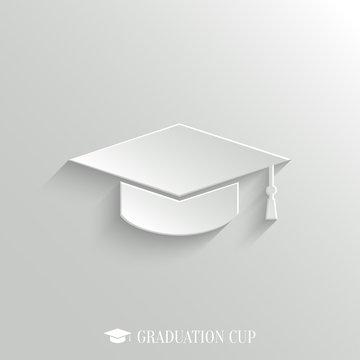 Graduation cap icon - vector white app button