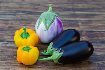 yellow peppers and eggplant