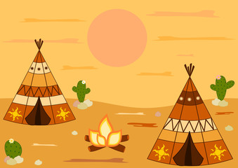 indian american native teepee tent cartoon vector background illustration