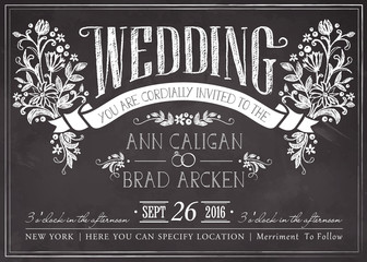 Wedding invitation card with floral background