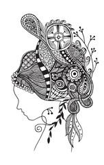 Zentangle stylized  beautiful woman's face