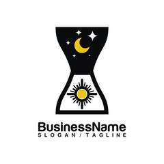 Time Clock vector logo icon