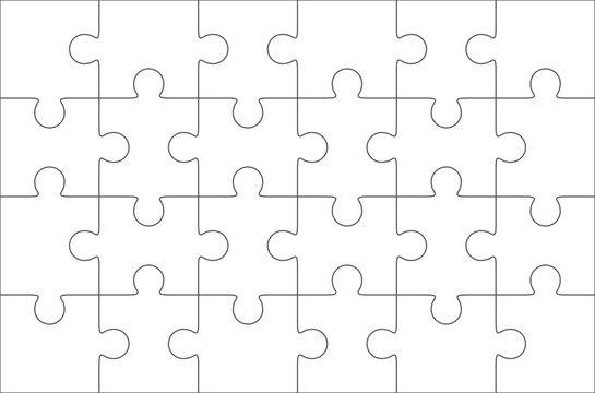 Jigsaw puzzle blank 6x4 elements, twenty four vector pieces.