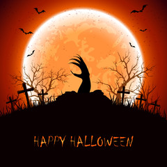 Halloween background with hand