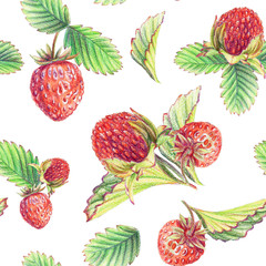 Seamless pattern with strawberries. Pencil illustration.