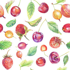 Seamless pattern with berries. Drawing with colored pencils.