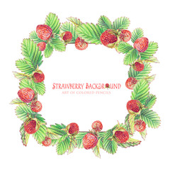 Frame with painted strawberries. Pencil illustration.