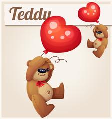 Teddy bear with heart balloon. Cartoon vector illustration.