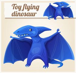 Toy flying dinosaur 7. Cartoon vector illustration. Series of