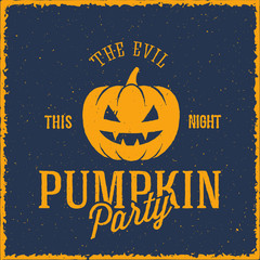 The Evil Pumpkin Vector Halloween Party Card or a Label with