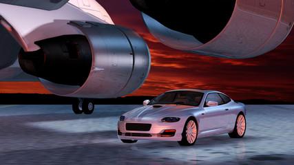 Sportwagen unter einer Verkehrsflugzeugtragfläche