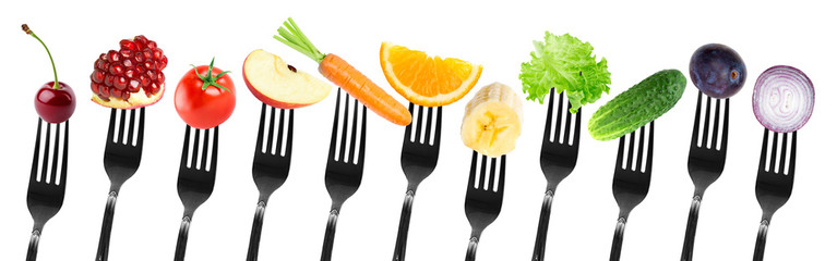 Keuken foto achterwand Verse groenten Color fruits and vegetables on fork