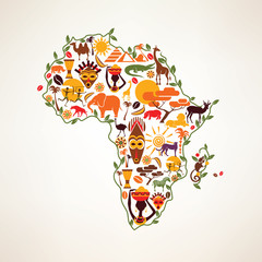 Africa travel map, decrative symbol of Africa continent with eth