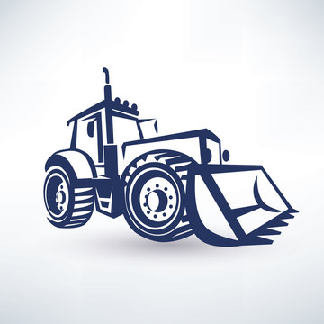 tractor stylized vector symbol, isolated silhouette