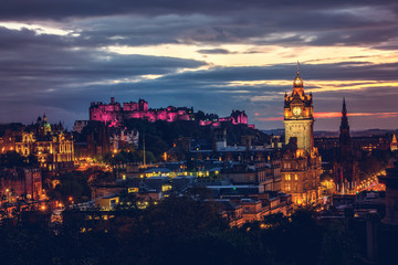 Edinburgh castle and Cityscape at night, Scotland UK