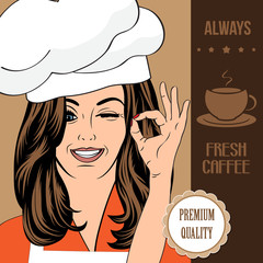coffee advertising banner with a beautiful lady