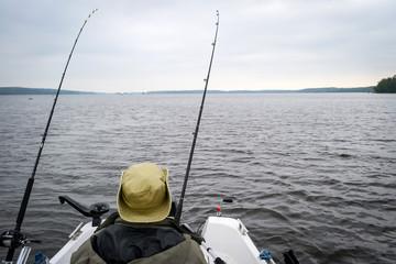 Angler waiting for fish bite