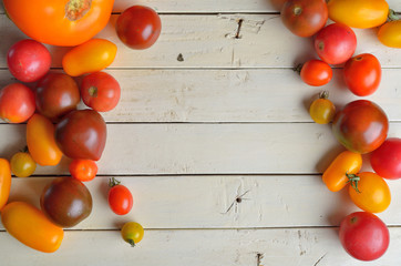 Fresh colorful tomatoes for use as cooking ingredients