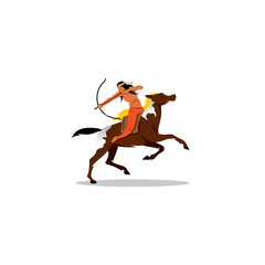 Indian archery riding a horse. Vector Illustration.
