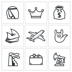 The wealth of Arab sheikhs icons set. Vector Illustration.