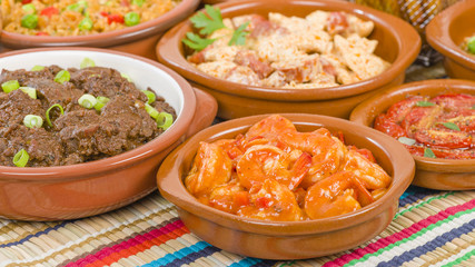 Tapas - Selection of latin dishes. Chorizo al vino, Higados de pollo, Chicken and chorizo, Tomates al ajillo, Arroz con pollo, Camarones enchilhados, Patatas a ala riojana and Stuffed mushrooms.