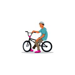 Young man rides sitting on a BMX Bike sign. Vector Illustration.