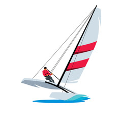 Catamaran and athlete at sea sign. Vector Illustration.