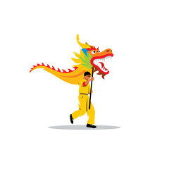 Chinese dragon and a man dancing in traditional festival sign. Vector Illustration.